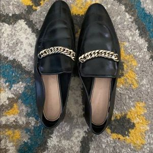 Zara Genuine Leather chained loafers